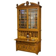 Edwardian Oak Secretaire Bookcase
