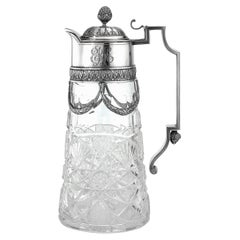 20th Century Russian Faberge Solid Silver & Cut Glass Claret Jug, c.1910