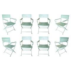 Set of Eight 1980s Spanish Green Iron Garden Chairs