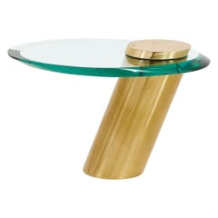 Karl Springer Brass with Cantilevered Glass Side Table, 1980
