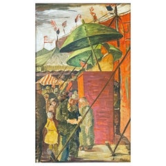 """""""Circus Scene,"""" 1930s Painting with Barker in Orange & Green, American Flags"""