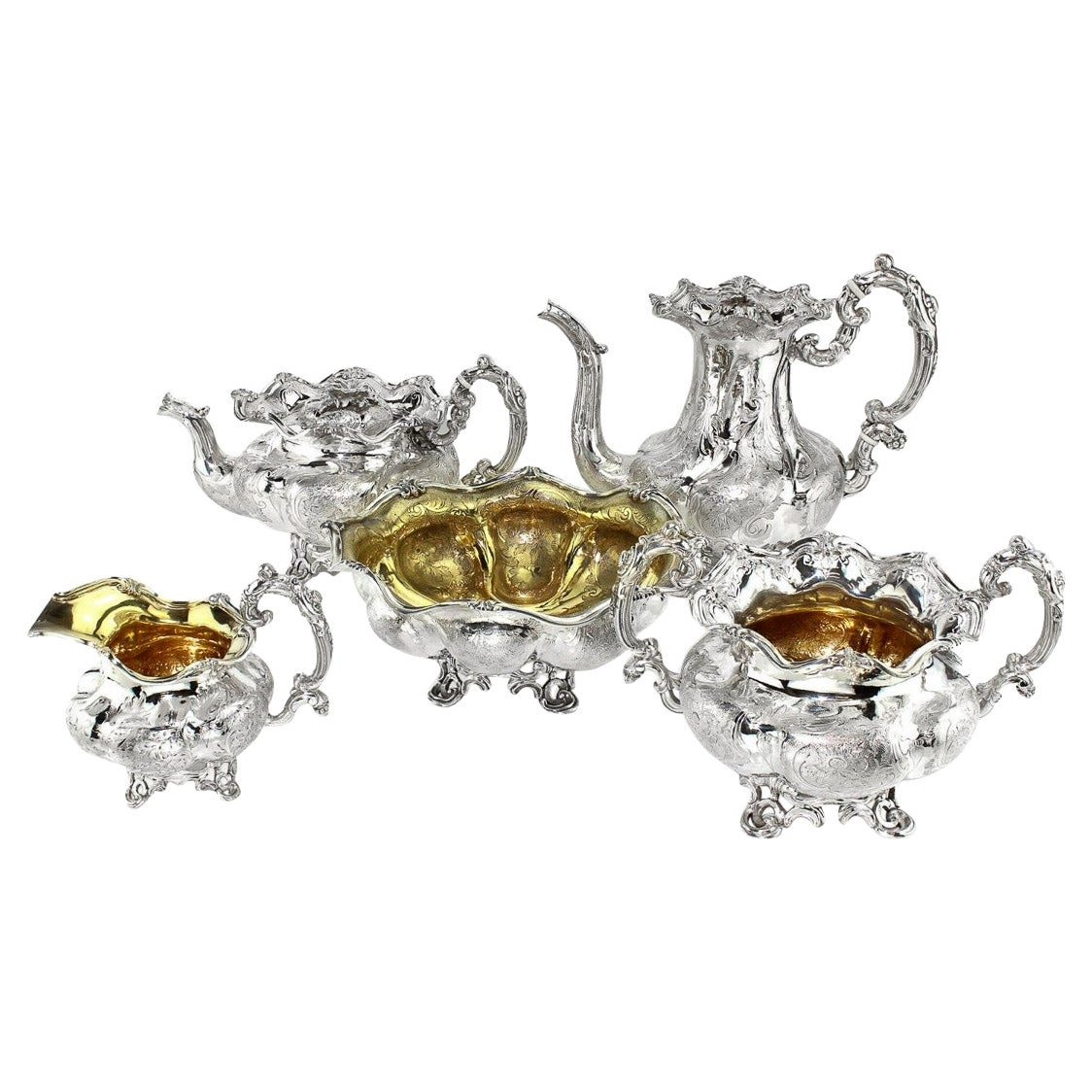 19th Century Imperial Russian 5 Piece Solid Silver Tea & Coffee Service, c.1844