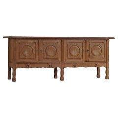 Mid Century Low Sideboard in Solid Oak, Made by Danish Cabinetmaker, 1950s