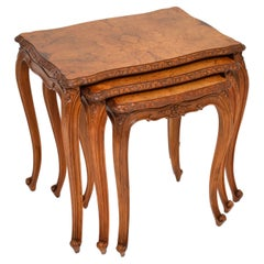 Antique French Burr Walnut Nest of Tables