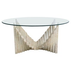 Italian Midcentury Chic Travertine Marble Coffee Table with Cut Glass Top, 1970s