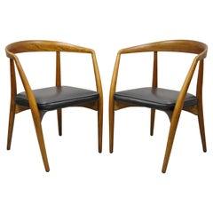 Mid Century Danish Modern Teak John Stuart Horseshoe Dining Arm Chair, a Pair
