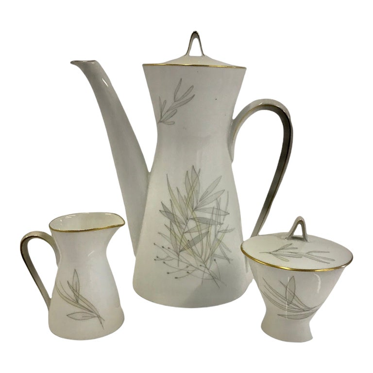 Raymond Loewy for Rosenthal Germany Modern Grasses Pattern Coffee Service 3 Pcs For Sale