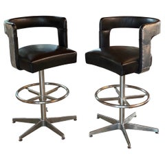 Pair of Timothy Oulton Circus Leather Barstools