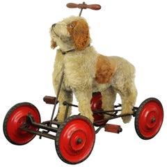 Vintage Stuffed Pedal Toy Dog , France
