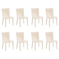 Karl Springer Set of 8 Goatskin JMF Dining Chairs, 1980