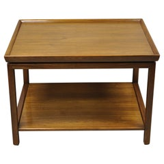 Vintage Mid Century Modern John Stuart 2 Tier Walnut Lamp Side End Table