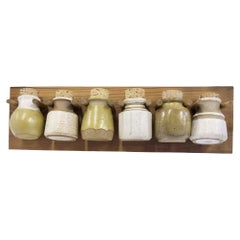 1970s Organic Modern Kitchen Wall Spice Rack with Pottery Jars Cork Tops