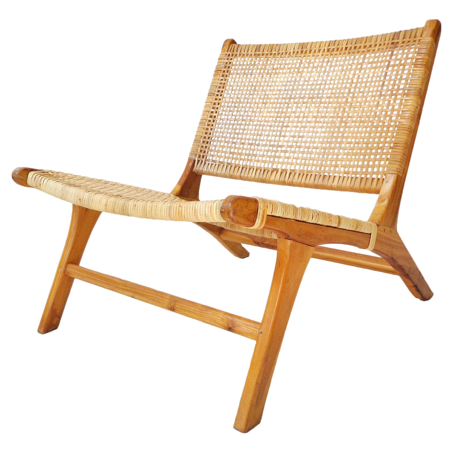 Lounge Chair in Cane and Solid Wood, Brazilian & Midcentury Style, Modern