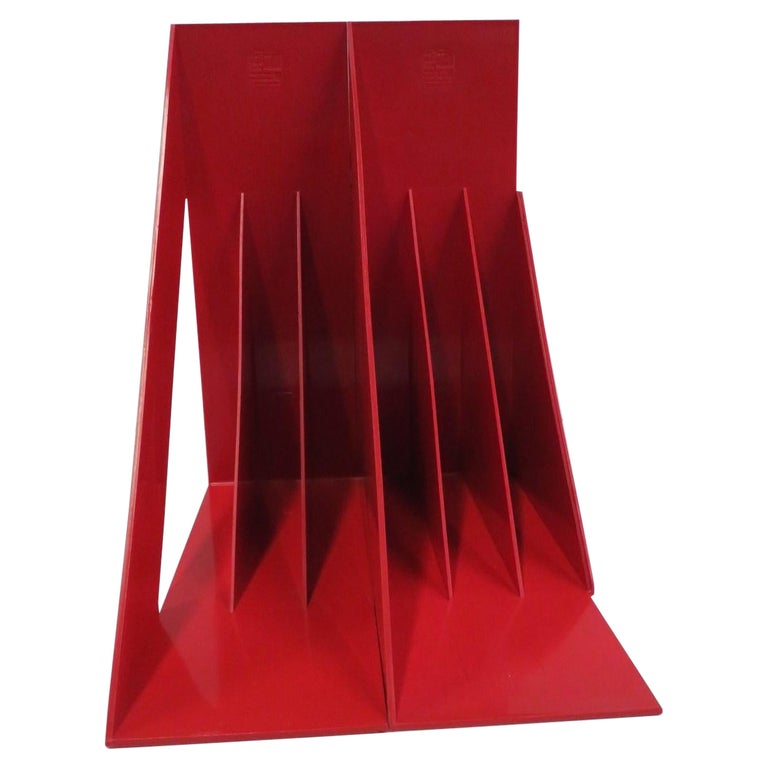 1970 Heller Modern Plastic Pair Record/Magazine Racks by Giotto Stoppino Pop Art For Sale