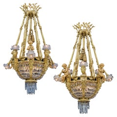 Extremely Rare Pair of Ormolu and Crystal Chandeliers in the Louis XVI Style