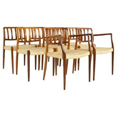Niels Otto Møller Model 83 Mid Century Rosewood Dining Chairs, Set of 8