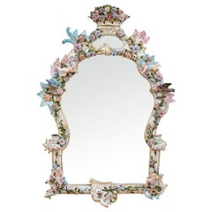 Antique Rococo Style Porcelain Mirror by Meissen