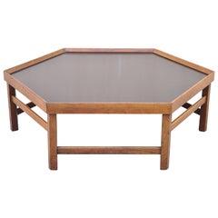 Vintage Mid-Century Modern Walnut Hexagonal Coffee Table with Black Masonite Top