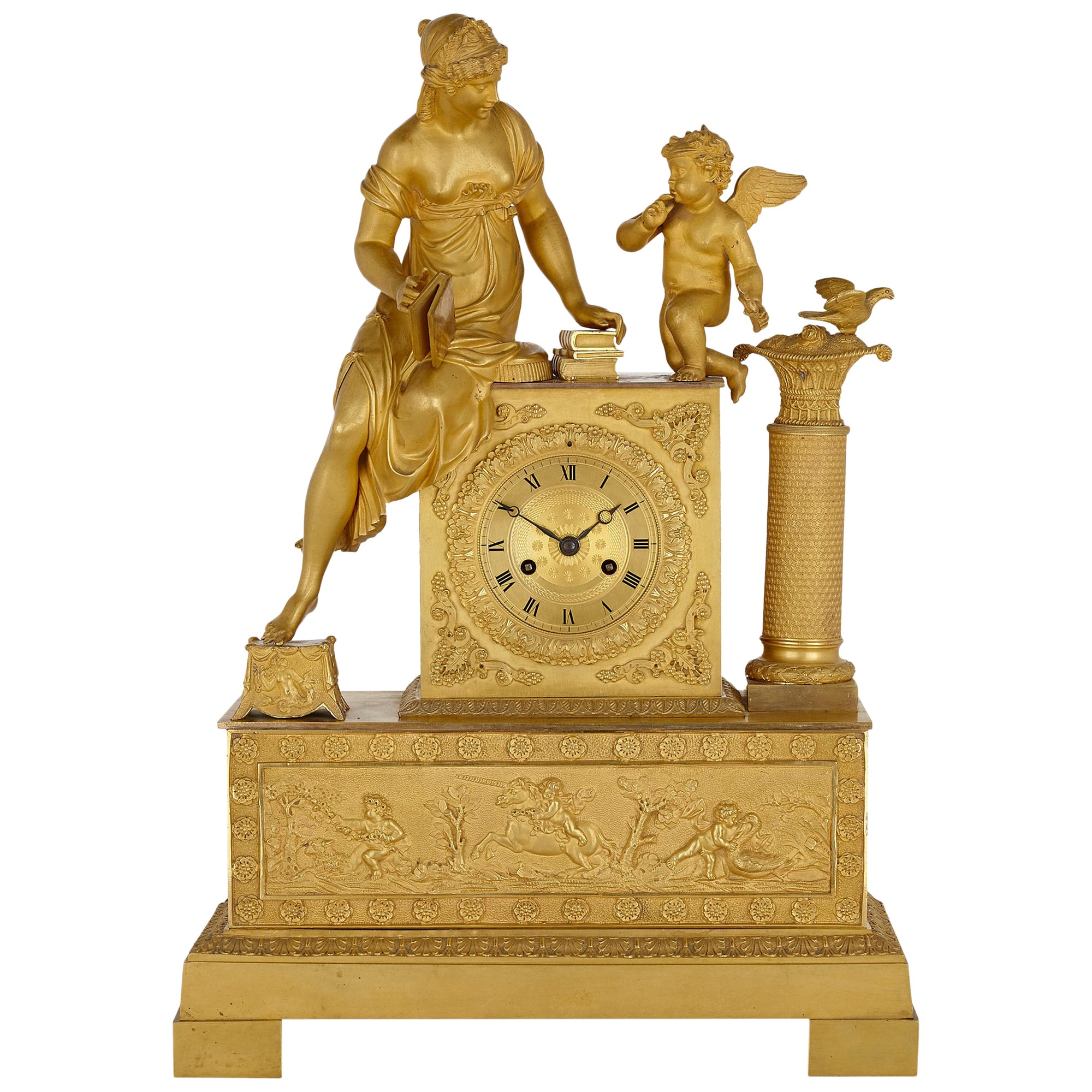 French Empire Gilt Bronze Mantel Clock with Venus and Cupid