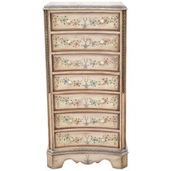 French Country Chic and Shabby 7 Drawer Cream and Flower Lingerie Tall Chest