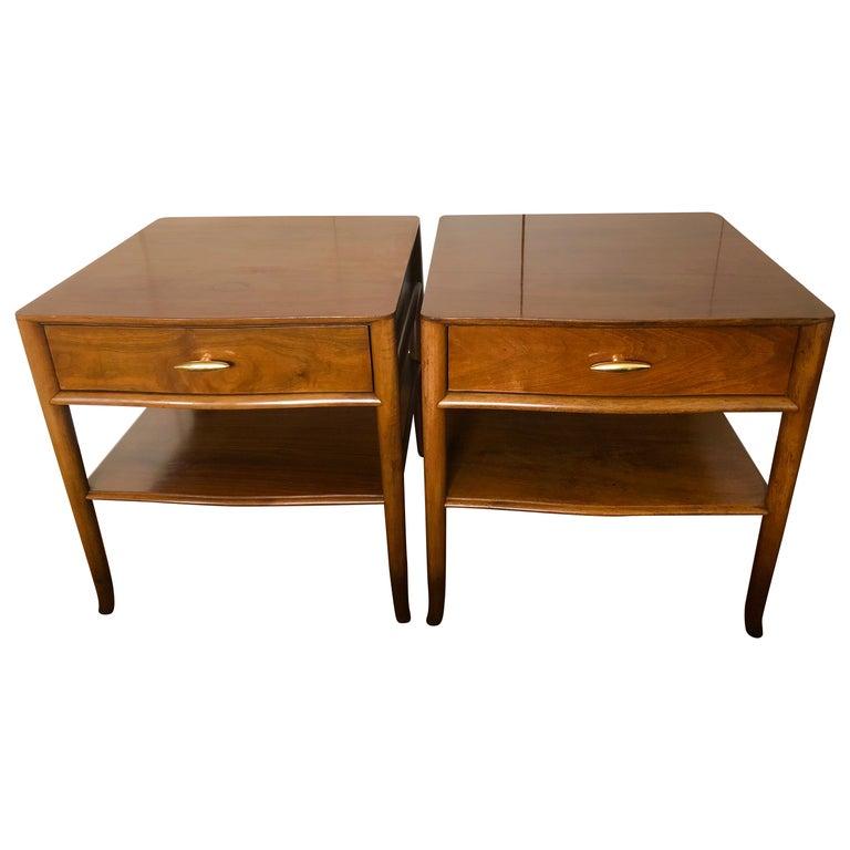 Robsjohn-Gibbings Walnut Side Tables w/ Gilt Porcelain Pulls For Sale