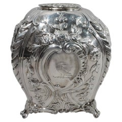Antique English Georgian Rococo Sterling Silver Tea Caddy
