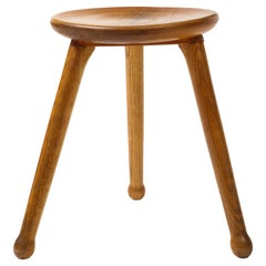 Early 20th C. French Oak Stool with Light Finish, France