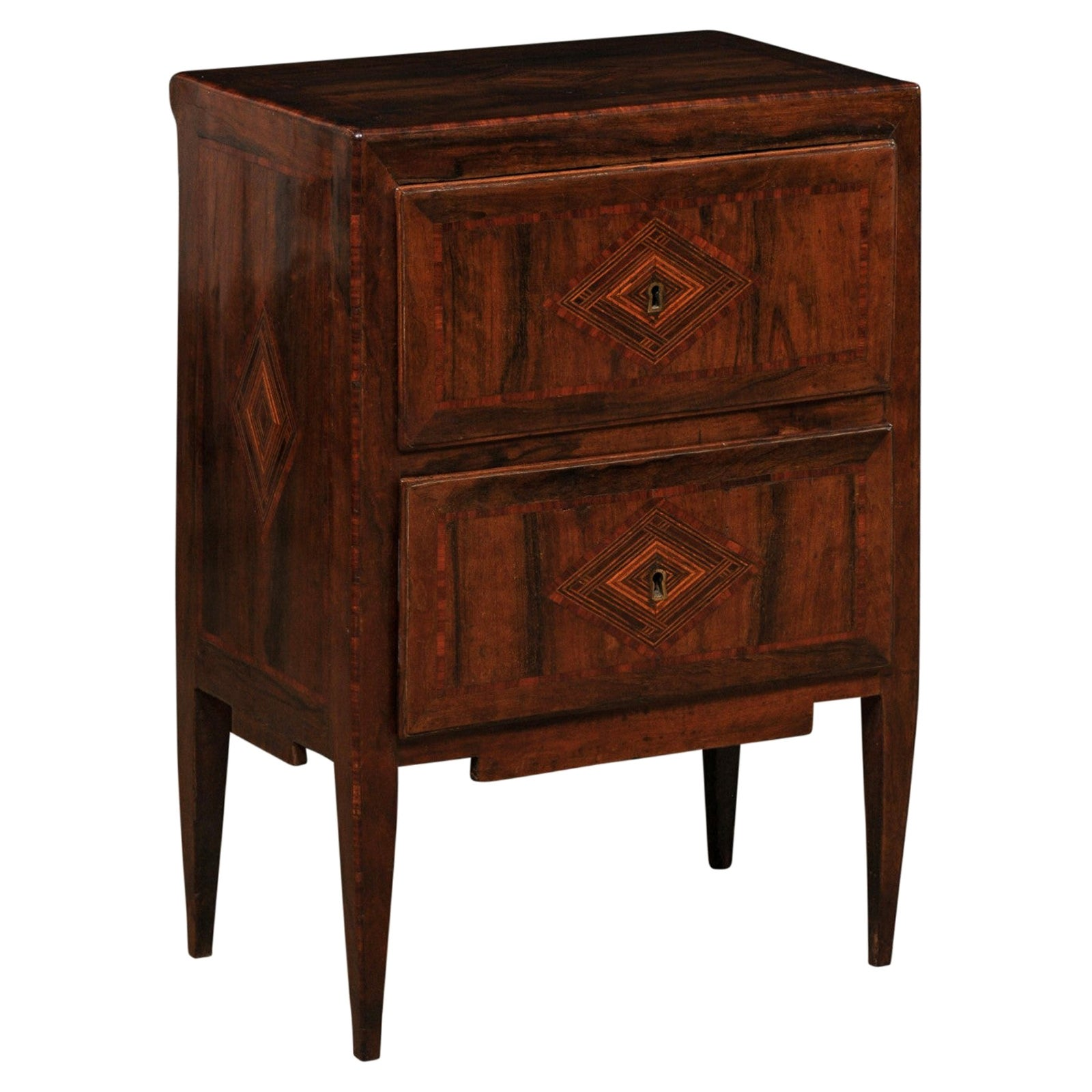 18th Century Italian Two-Drawer Raised Chest with Decorative Inlay and Banding