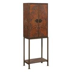 Tall Spanish Antique Embossed Leather Cabinet, Raised on Custom Iron Base
