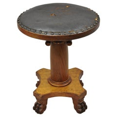 19th C. American Empire Mahogany Carved Column Paw Feet Swivel Leather Stool