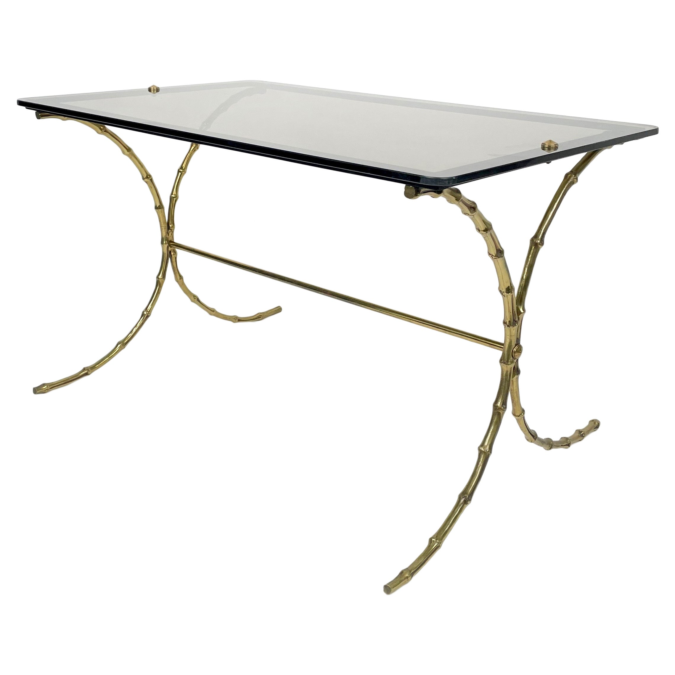 Maison Bagues Smoked Glass & Faux Bamboo Brass Coffee Table, France, 1970s