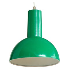 Danish Green Mid Century Dome Pendant with White Cord, c. 1960