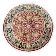 Indian Tabriz-Style Round Rug