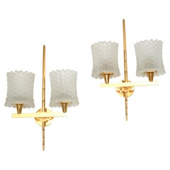 Maison Arlus Pair of Double Brass & Textured Glass Sconces Wall Lights Art Deco