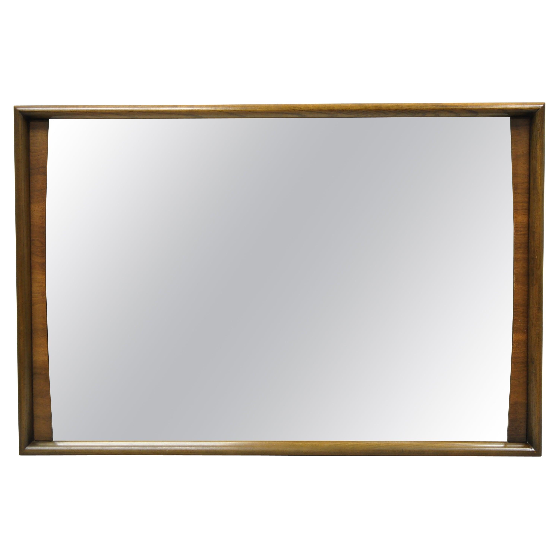 Mid-Century Modern Solid Walnut Frame Rectangular Mirror by United Furniture
