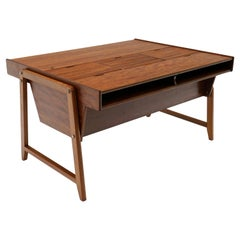 """Danish Modern """"Eden"""" Partners Desk, Large Surface with Roll Top File Cabinets"""