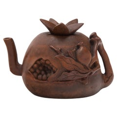 Chinese Bamboo Pomegranate Teapot, c. 1900