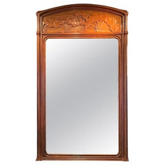 """Early 20th Century French Art Nouveau """"Ombelle"""" Wall Mirror by, Emile Gallé"""