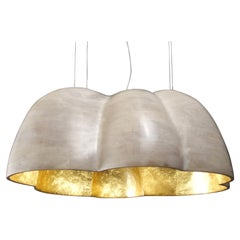 N2 Cloud Chandelier Hand Carved in Bleached Cherry with Gold Leaf