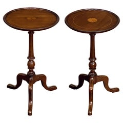 Pair of English Wine Tables of Mahogany with Inlaid Tops, Individually Priced