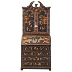 English George III Style Chinoiserie Lacquered Secretaire Bookcase