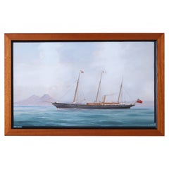 Antique Framed Painting of a Yacht by Antonio De Simone