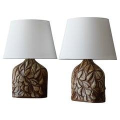 Søholm Keramik, Large Table Lamps, Glazed Stoneware, Bornholm, Denmark, 1960s