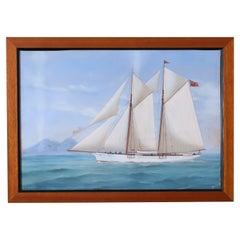 Antique Marine Painting of a Yacht by Antonio De Simone