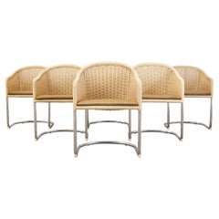Set of Six Harvey Probber Style Woven Basket Cantilever Chairs