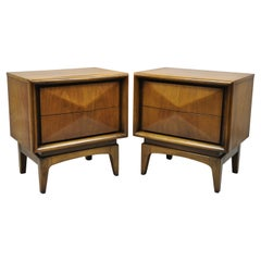 Mid Century Walnut Diamond Front Nightstands Bedside Tables by United, a Pair