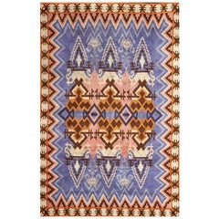 Impi Sotavalta Finnish Hand-Woven Lavender and Marigold Geometric Ray Rug, 1920s