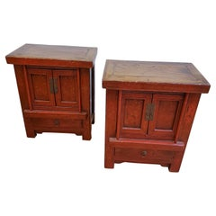 Pair of 19th Century Red Lacquer Chinese Export Cabinets with Gilt Decoration