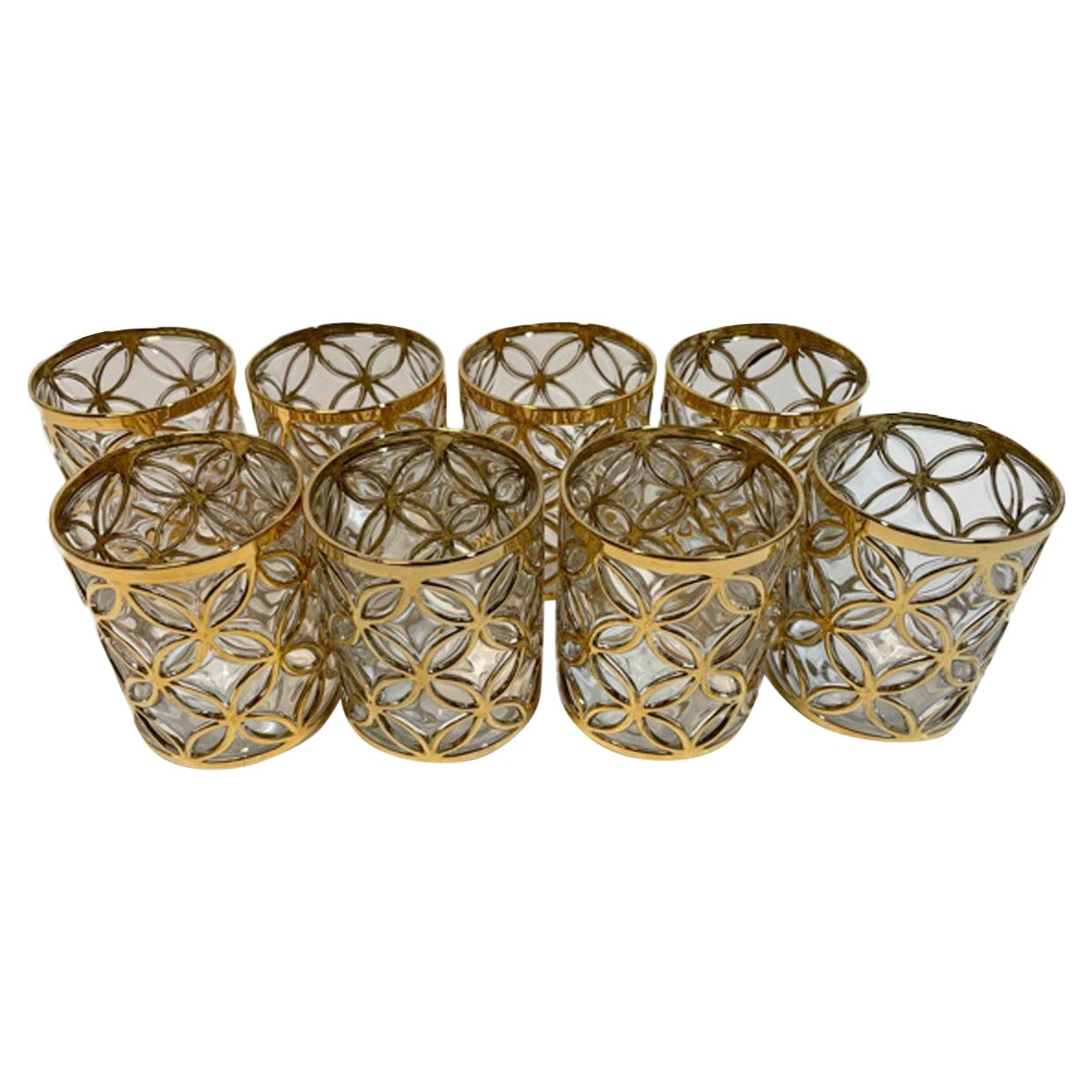 Vintage Imperial Glass Rocks Glasses in the Sortijas de Oro Pattern