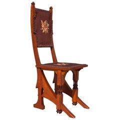 Carlo Bugatti Art Nouveau Walnut Side Chair with Pewter Inlay